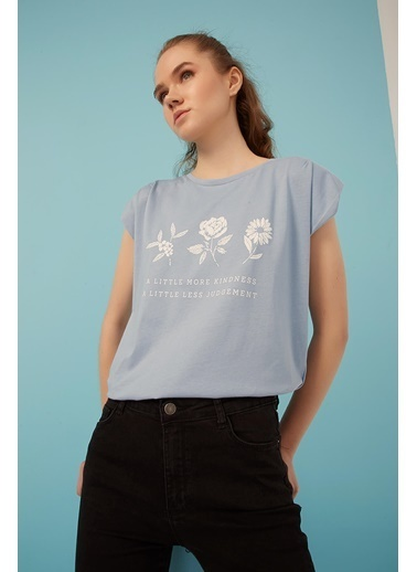 Modaset Vatkalı T-Shirt  Mavi